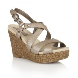 Robyn Nickel Leather Wedge Open-Toe Sandals