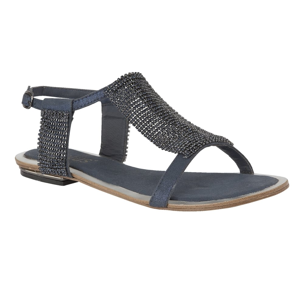 Navy Agnetha Chainmail Flat Sandals Lotus Sandals From