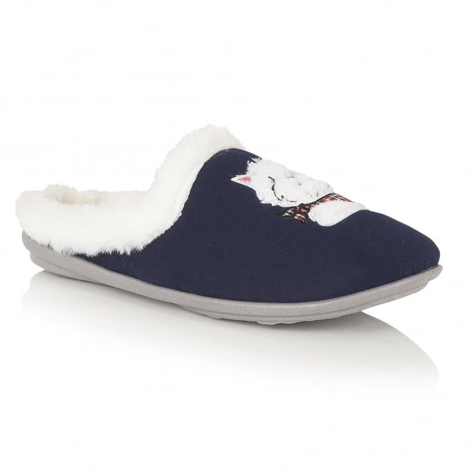 Navy Archie Mule Slippers | Lotus
