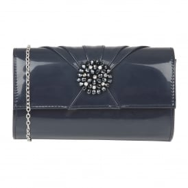 Navy Aria Patent Cluster Clutch Bag | Lotus