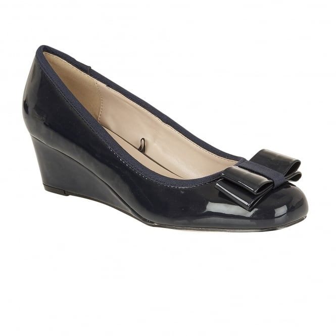Navy Asela Patent Wedge Ballerina Shoes | Lotus