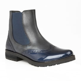 Navy Brianza Leather & Patent Ankle Boots