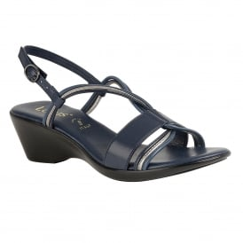 Navy Carrara Wedge Sling-Back Sandals | Lotus