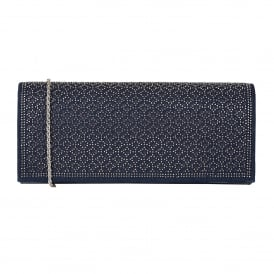 Navy & Diamante Tadine Clutch Bag | Lotus