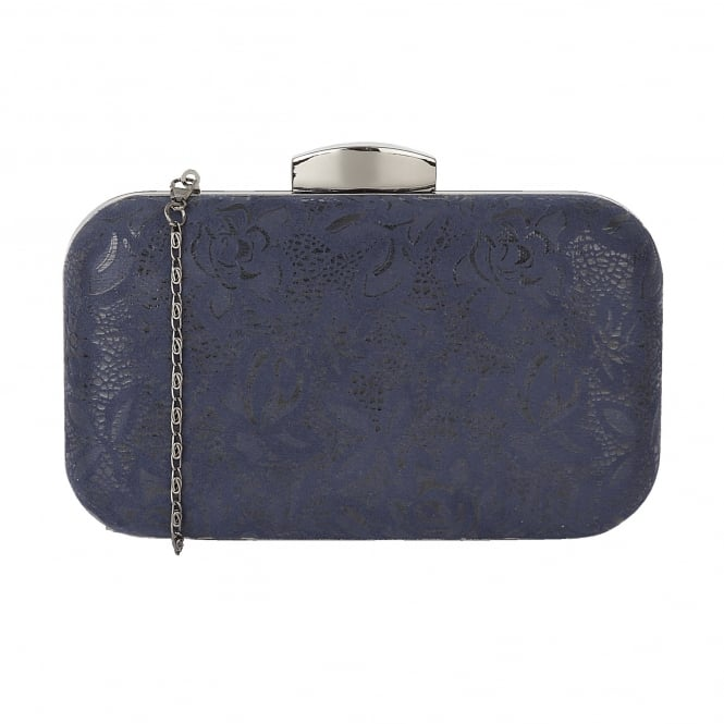 Navy Floral Printed Puffin Clutch Bag | Lotus