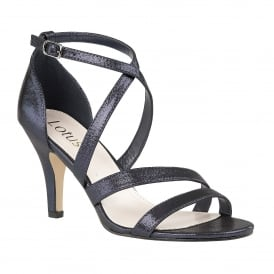 Navy Gabby Shimmer Strappy Sandals