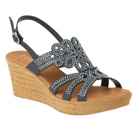 Navy Glitz Ludisa Wedge Sandals | Lotus
