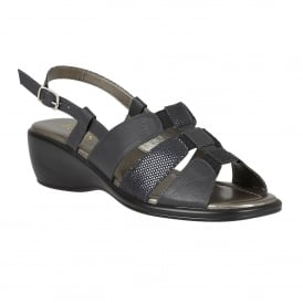 Navy Lantic Leather Sandals | Lotus