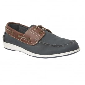 Navy Lawson Leather Boat Shoes | Lotus