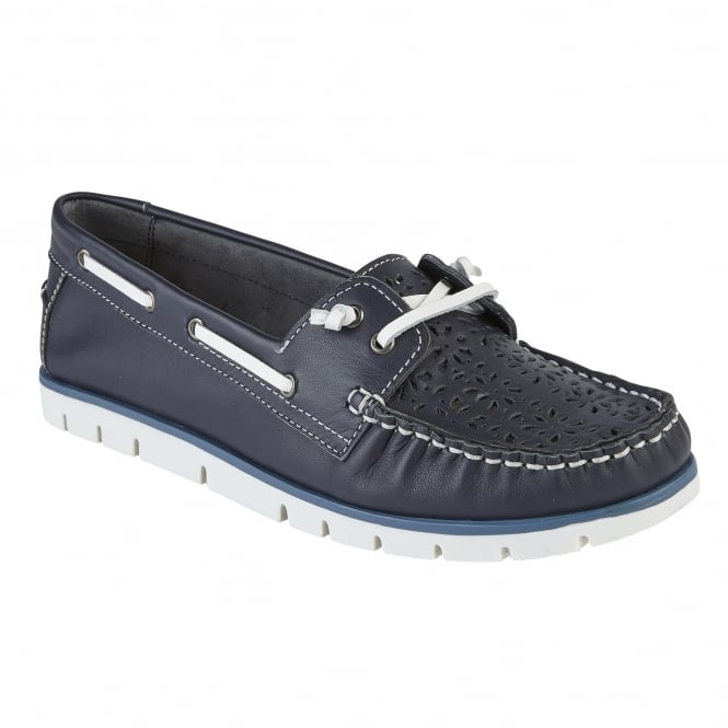 Navy Leather Lazer-Cut Boat Shoes | Lotus