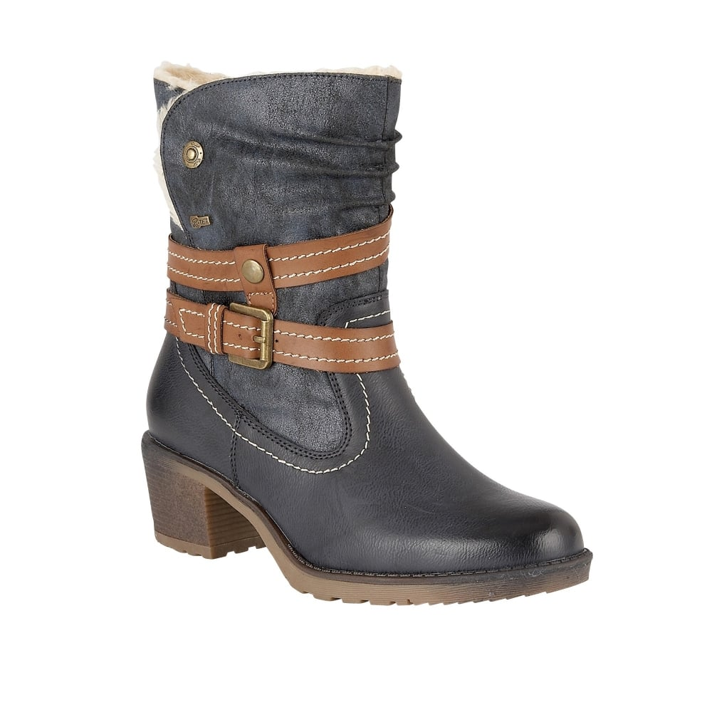 Navy Mallory Matt Amp Microfibre Ankle Boots Lotus Relife