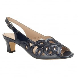 Navy Marianna Open-Toe Sling-Back Shoes | Lotus