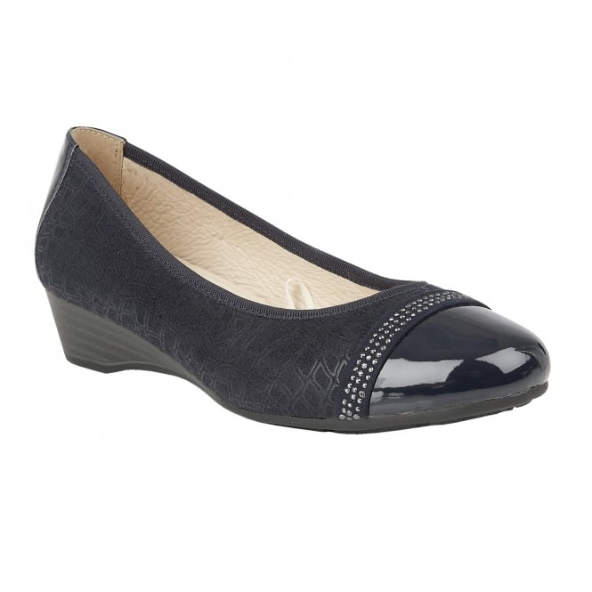 Navy Marlene Patent Wedge Shoes