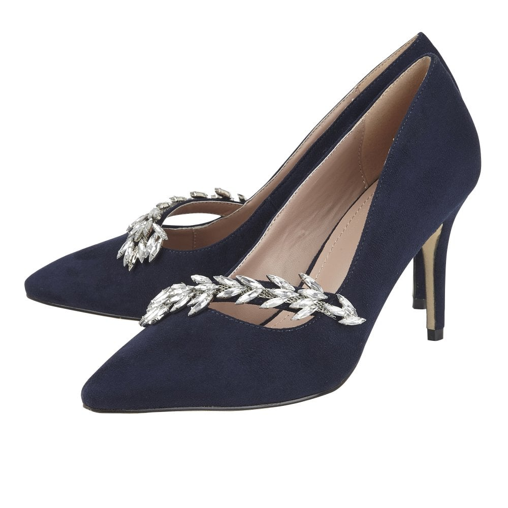 buy popular new style on sale Navy Microfibre Alyssa Court Shoes | Lotus