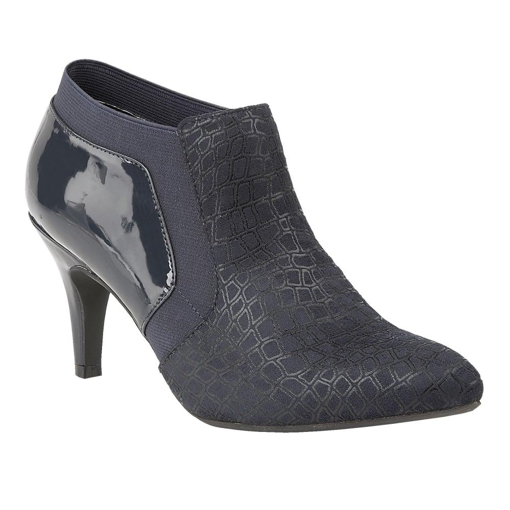 buy the lotus ladies pacta shoe boot in navy print patent