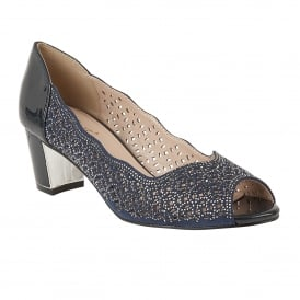 Navy Patent & Diamante Attica Open-Toe Shoes | Lotus