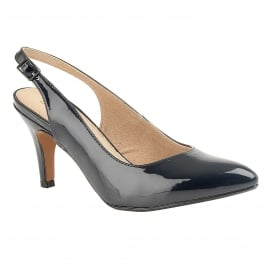 Navy Patent Nadia Sling-Back Shoes | Lotus