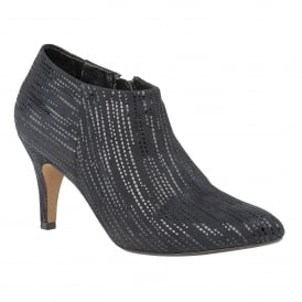 Navy Print Boudicca Leather Shoe-Boots | Lotus