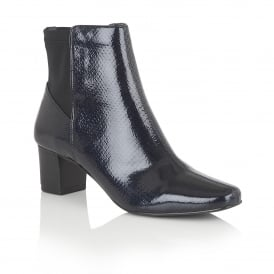 Navy Swallow Patent Snake-Print Ankle Boots - 'E' fit | Lotus