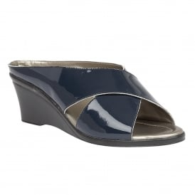 Navy Trino Patent Leather Mule Sandals