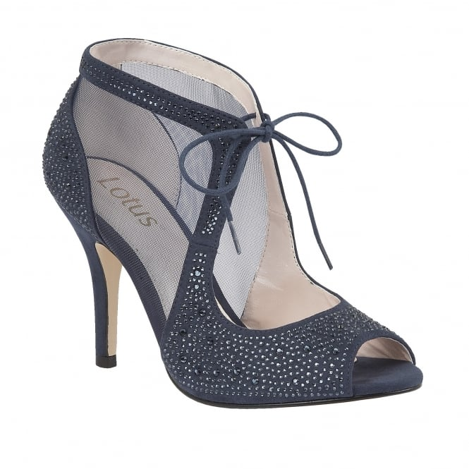 Navy Vanille Microfibre Diamante Shoes | Lotus