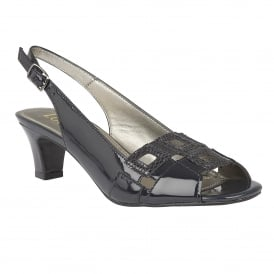 Navy Zabry Patent Leather Open-Toe Sandals | Lotus