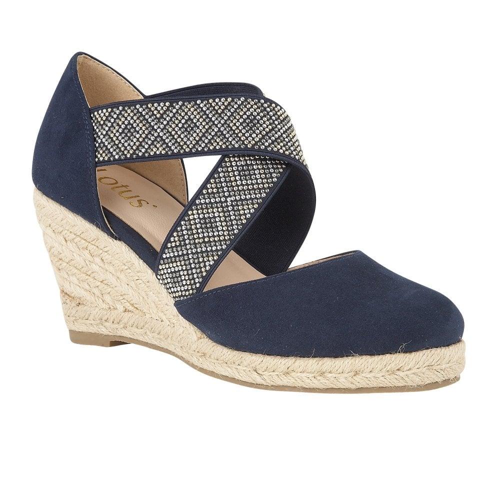 Buy The Navy Lotus Ladies Zade Wedge Shoe Online