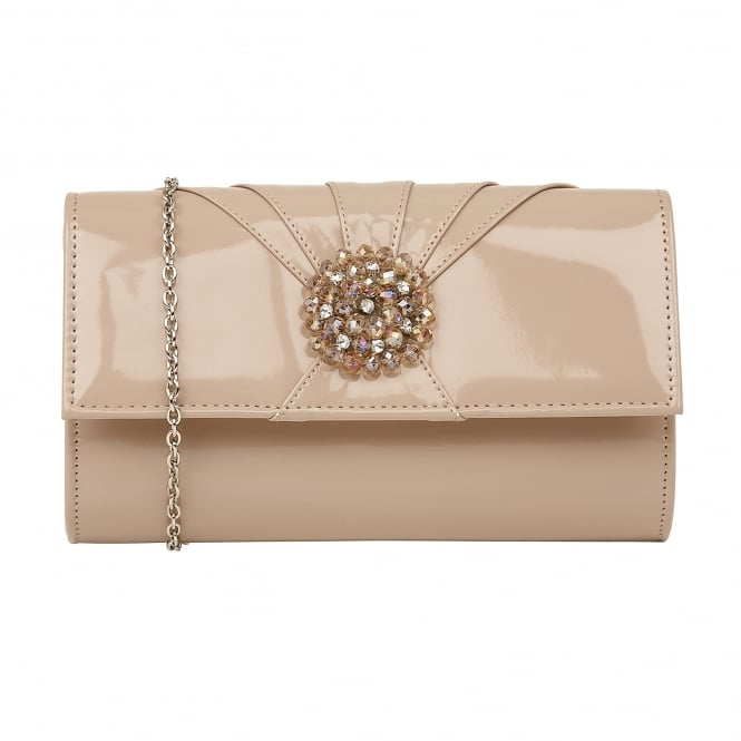 Nude Aria Patent Cluster Clutch Bag | Lotus