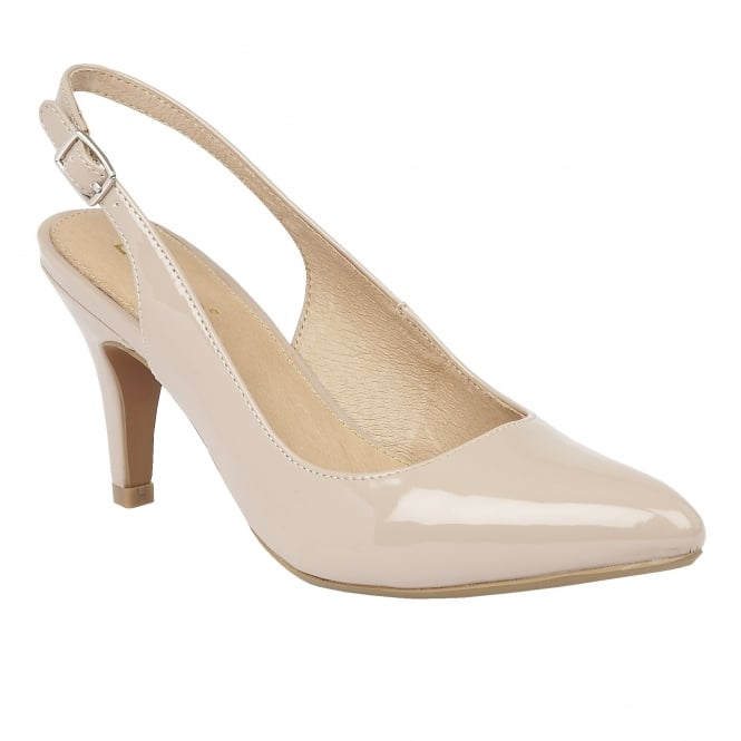 Nude Nadia Shiny Sling-Back Court Shoes | Lotus