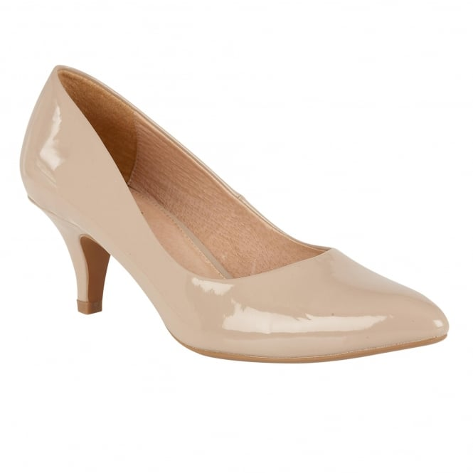 Nude Patent Clio Pointed Toe Court Shoes | Lotus