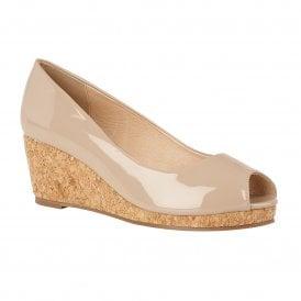 1733f38a03 Nude Patent Odina Peep-Toe Wedge Shoes   Lotus Sale