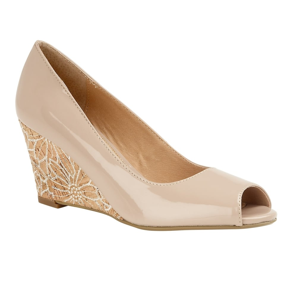 Buy the nude patent Lotus women's Cabina wedge shoe online
