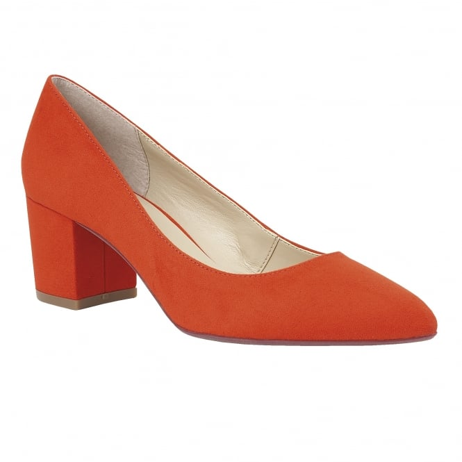 Orange Briars Microfibre Court Shoes | Lotus