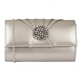Pewter Aria Patent Cluster Clutch Bag | Lotus