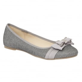Pewter Cyan Glitz & Satin Ballet Pumps | Lotus