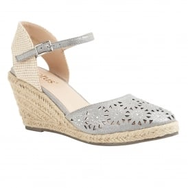 Pewter & Diamante Nigella Wedge Espadrille | Lotus