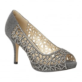 Pewter Flink Textile & Diamante Peep-Toe Shoes
