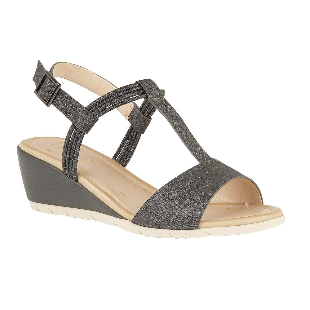 4d03d6d081 Buy the pewter Lotus ladies' Kiera wedge sandal online