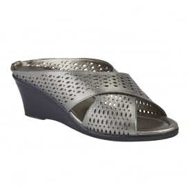 Pewter Martina Leather Wedge Mule Sandals | Lotus