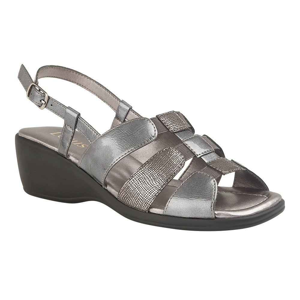 bea8a21a4f3 Buy the pewter Lotus ladies  Mississippi wedge sandal online