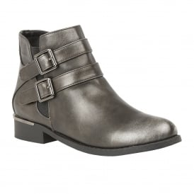 Pewter Palm Metallic Ankle Boots