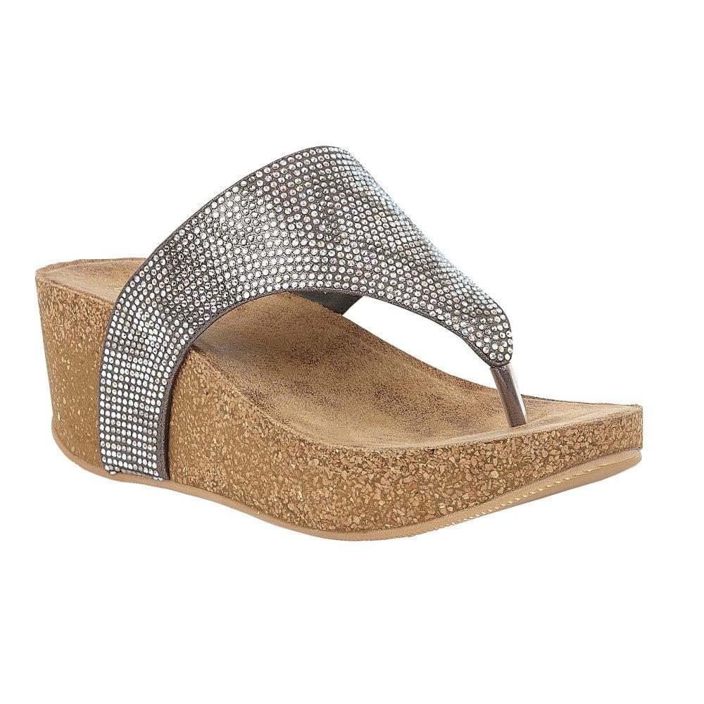 pewter Lotus ladies' Patsy wedge sandal