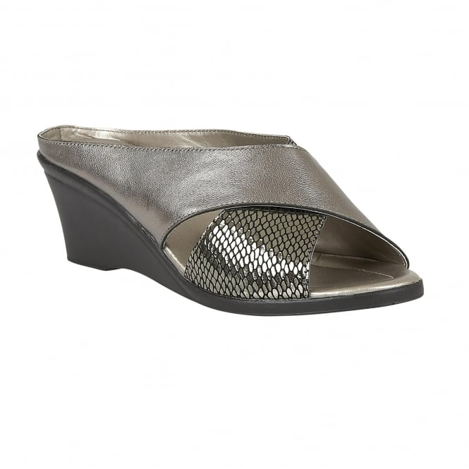 Pewter Snake Printed Trino Leather Mule Sandals | Lotus