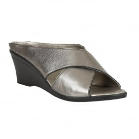 Pewter Trino Leather Mule Sandals | Lotus