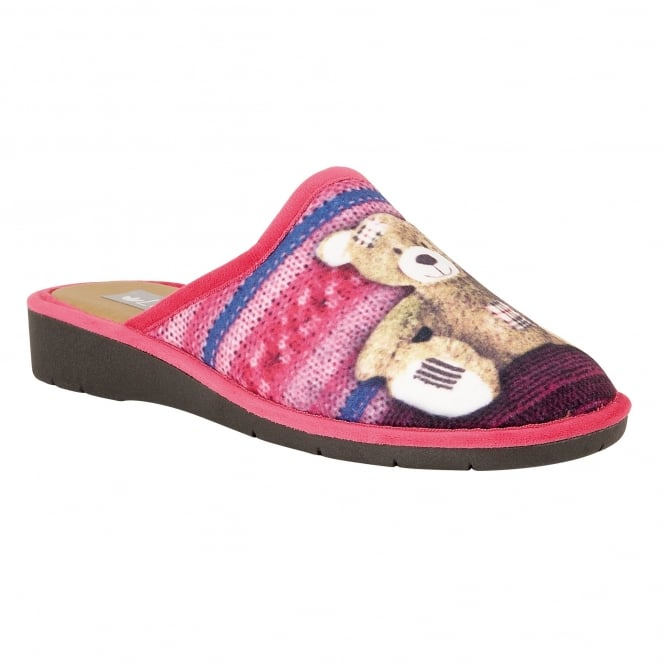 Pink Multi Jax Wedge Mule Slippers | Lotus