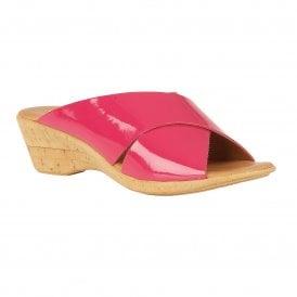 93bbedc057 Pink Tonia Patent Mule Wedge Sandals   Lotus Sale