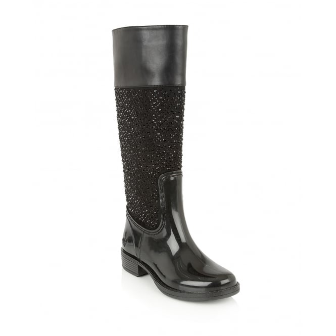 Posh Wellies Galena Black Knee-High Boots