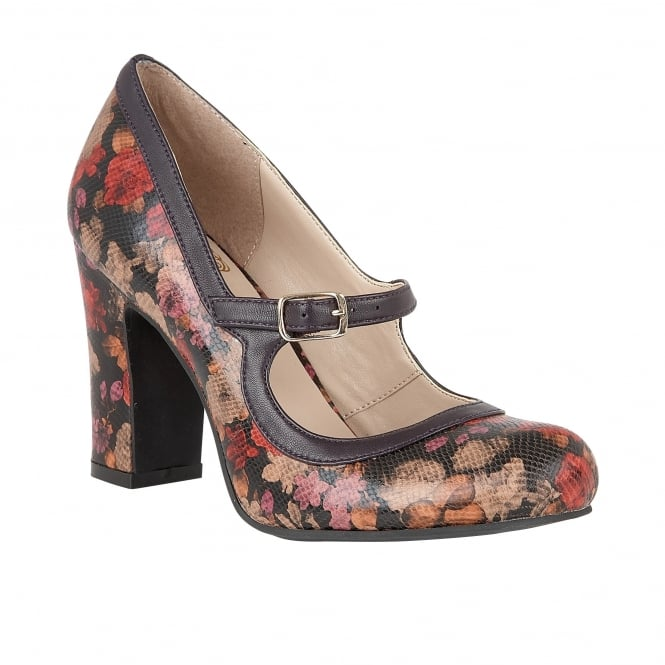 Purple Floral Printed Jasmyn Mary-Jane Court Shoes | Lotus