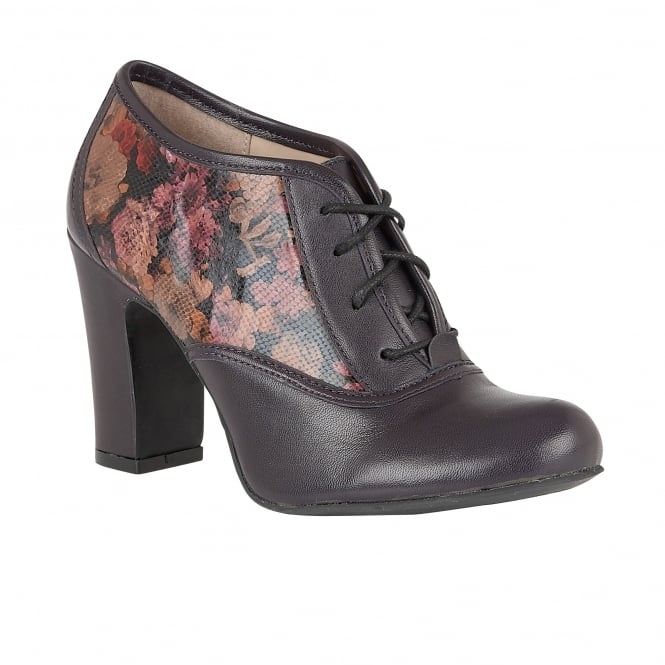 Purple Floral Printed Lian Leather Shoe-Boots | Lotus