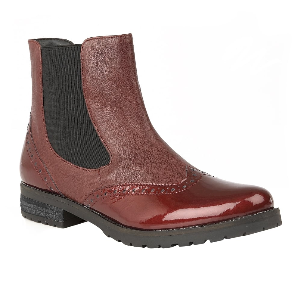 Buy The Lotus Ladies Brianza Ankle Boot In Red Leather Online